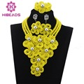 Indian Costume Bridal Accessory Jewelry Set African Crystal Beads Newest Yellow Nigerian Wedding Necklace Set Big FlowersABH008