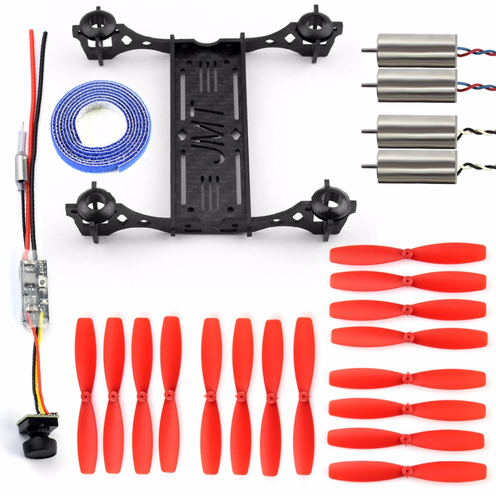 Mini 100mm Carbon Fiber Frame Kit with Q25 VTX+CAMERA 8520 Brushed CW CCW Motor Props for DIY RC Indoor FPV Racer Drone F19602-C eyas 55 7mm 8mm pure carbon fiber brush coreless quadcopter frame for diy fpv micro indoor mini drone with camera