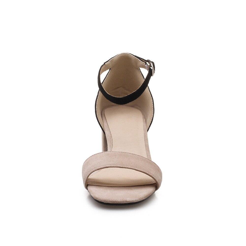Mélangées Haute Taille Arrivée Boucle Flock 43 D'été Femmes Nouvelle apricot noir Chaussures 2018 Talon 33 Confortable Brown Sandales Morazora Grande Couleurs Simple OpExwBT8q4