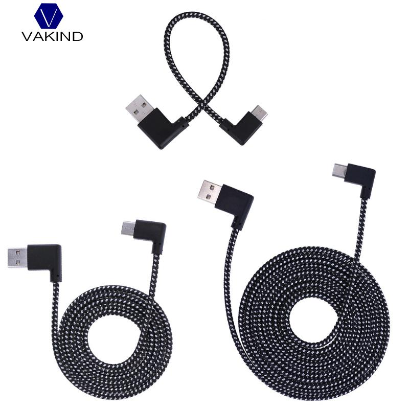 Nylon Braided Type-C Cable, 90 Degree Connector USB3.1 Type-C Fast Charging Data Cable for All Type C Device