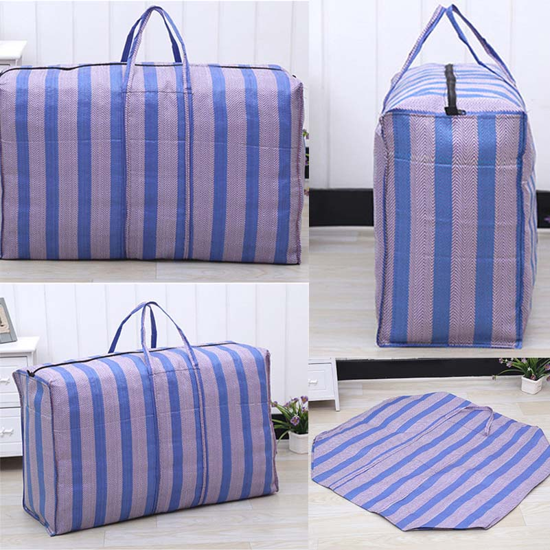 Nylon Woven Bag Travel Women Men Large Capacity Luggage Bag Practical Moving Storage Package Bag Thicken Oxford Bag Waterproof
