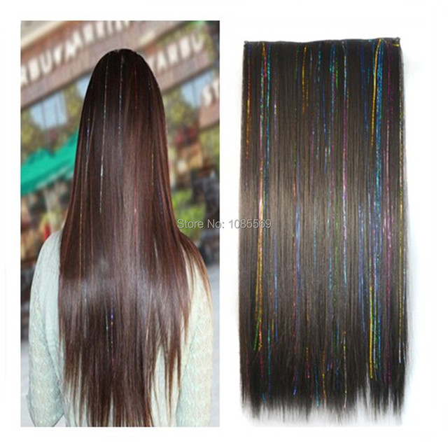 Luckygirl 23 Inch Black Mixed Colorful Strips Wire Straight Full Head Clip In Hair Extensions