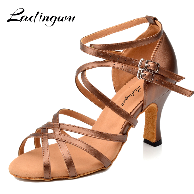 Ladingwu Artificial Leather Dance Shoes Latin Woman Ballroom Shoes Dancing Ladies Brown Soft Bottom Dance Sandals Scarpe Donna
