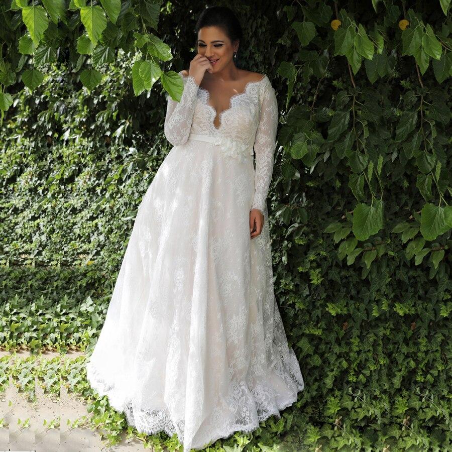Jiayigong Cheap Lace Wedding Dresses Plus Size Vestido De Novia Sexy V-neck Long Sleeves Illusion Lace Wedding Dress For Bride