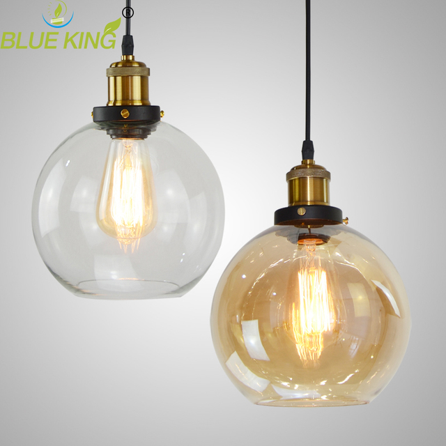 Vintage Clear Glass Ball Pendant Light Loft Bar Cafe Light Fixture