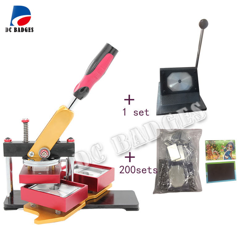 Free Shipping 80*53mm Rectangle magnetic button badge Making Machine with stander paper cutter and  200sets magnet  material