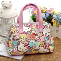 Free shipping Fashion hello kitty top handle bags High quality PU 2017 Cute bear and cat kids bag small handle bags