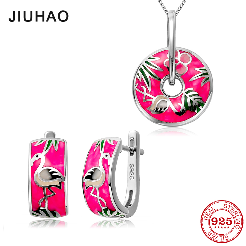 Jewelry set Pale pink Red-crowned crane for women Authentic 925 Sterling Silver charms Fashion pendant Earrings Party Enamel ruffle sleeve red crowned crane print random blouse