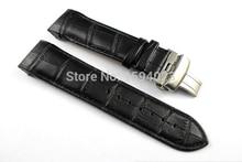купить 24mm (Buckle 22mm) T035627 T035614 High Quality Silver Butterfly Buckle + Black Genuine Leather Watchband belts For T035 man по цене 1289.6 рублей