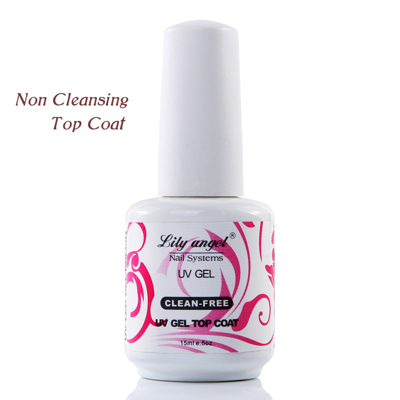 lilja ängel Nykomst 15 ml svart flaska Non Cleaning Top Coat Mirrow Shinning One Step Top Coat Gel Polsk Top Cover Coating