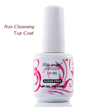 lily angel New Arrival 15ml Black Bottle Non Cleaning Top Coat Mirrow Shinning One Step Gel Polish Cover Coating