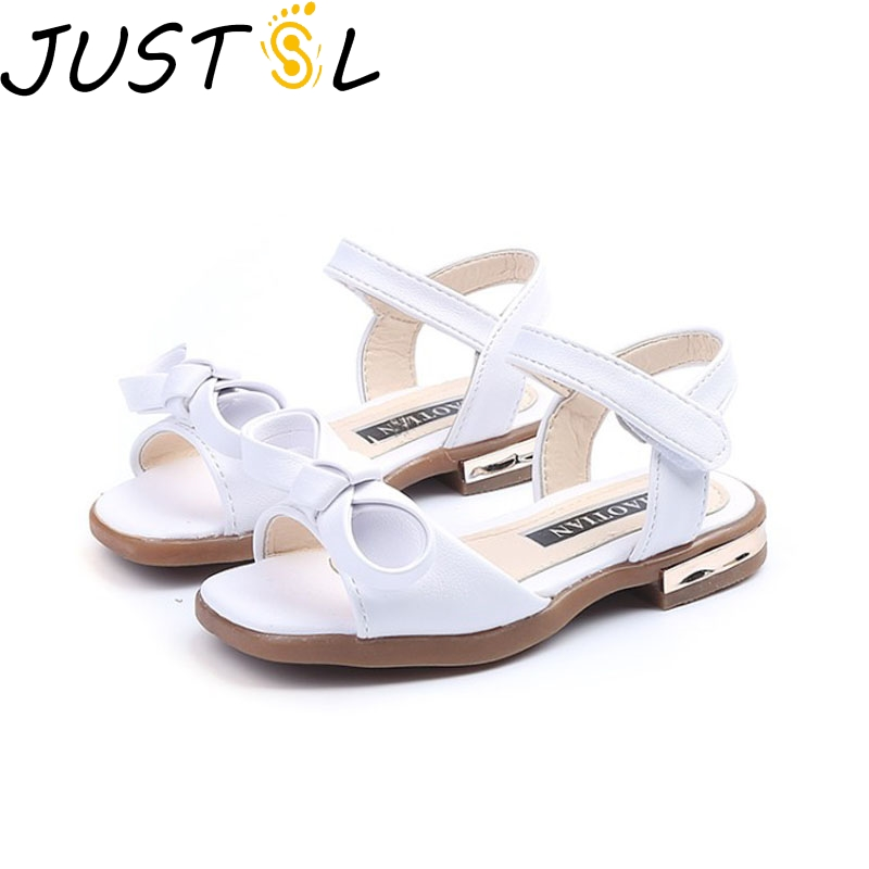 JUSTSL 2018 New Summer Gilr Sandals Bow Princess Shoes Classic Joker Sandals Soft Sandals