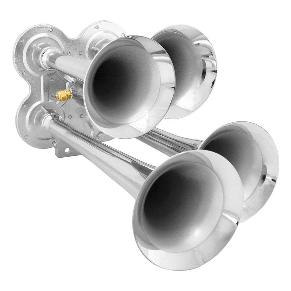 Loud 149dB 4/Four Trumpet Train Air Horn with 12V Electric Solenoid Zinc alloy-in Multi-tone & Claxon Horns from Automobiles & Motorcycles on AliExpress - 11.11_Double 11_Singles' Day 1