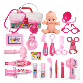 19 Pieces/Set Children Pretend Play Doctor Nurse Toy Set Portable Suitcase Medical Kit Kids Educational Role Play Classic Toys