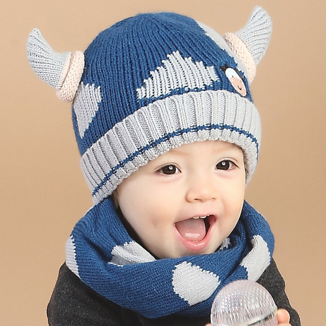 Cute Horns Baby Hats Scarf Set Newborn Baby Beanie Double Layer Baby Winter  Hat Scarf for Girls Boys Knitted Kids Cap HAT65 afdc77676c2