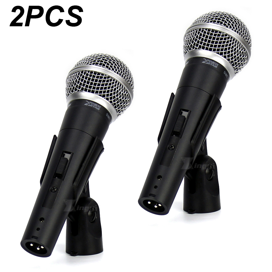 2pcs Pro Switch Handheld Dynamic Mic Vocal Wired Microphone For Computer Sm58lc Sm 58sk Karaoke Mixer Audio Singing Stage Singer Clear And Distinctive