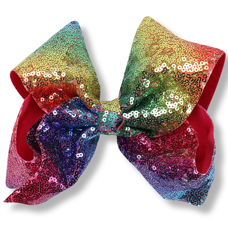 1PC 8 Big Sequin Grosgrain Ribbon Hair Bow Hair Clips Hairgrips For Children Hair Accessories Boutique Rainbow Glitter Bows