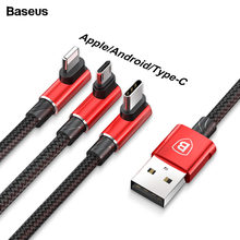 Baseus 3.5A elbow usb charger cable for iPhone 7 Samsung 9 huawei xiaomi Charging cable for Apple Lightning Micro Type-c android(China)