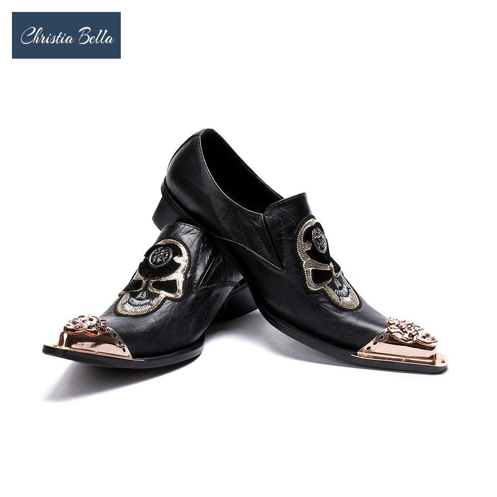 Christia Bella Gold Toe Men Dress Shoes Skull Fashion Plus Size Mens  Handmade Oxfords Men s Flats 677e645c4afb