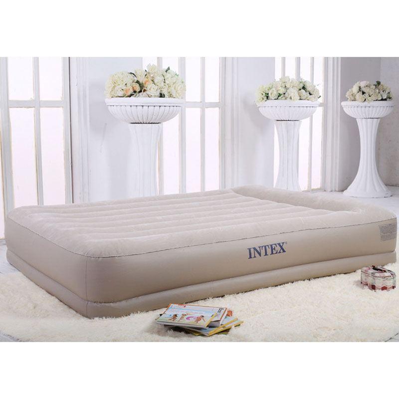 INTEX 67748 152*203*38CM Deluxe Stripe Thickened Double Built-in Electric Pump 2-3 People Air Mattress Inflatable Bed Beach Mat
