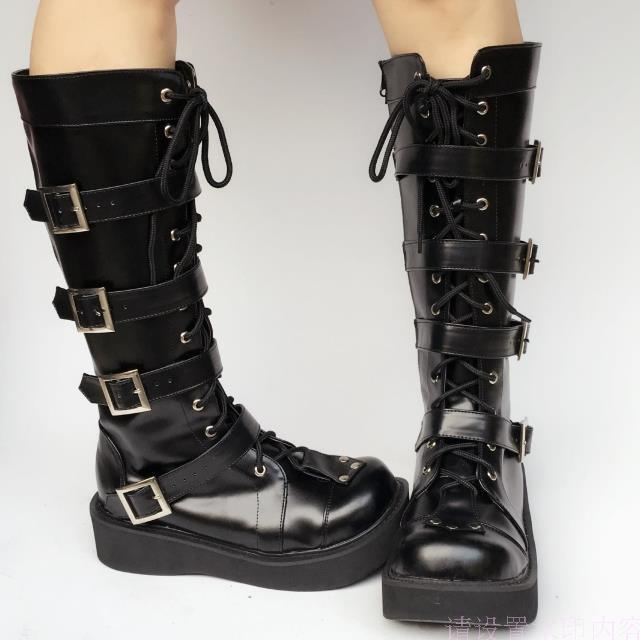 Japanese-Harajuku-High-Platform-Cosplay-Lolita-Mid-Calf-Boots-Women-Black-PU-Leather-Buckle-Straps-Lace-Up-Gothic-Punk-High-Boots-4