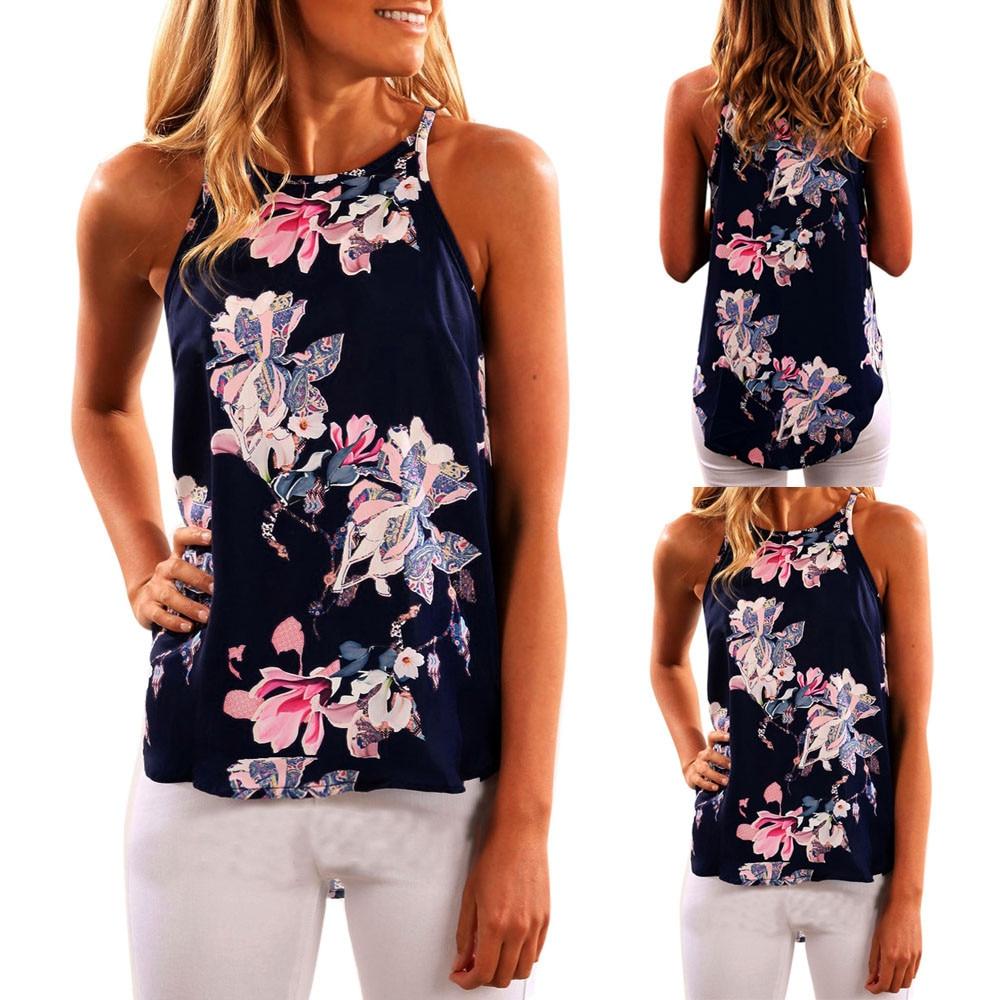 Effizient Frauen Ärmellose Blume Gedruckt Tank Top Lange Abschnitt Sling Beiläufige Bluse Weste T Hemd Ropa Mujer