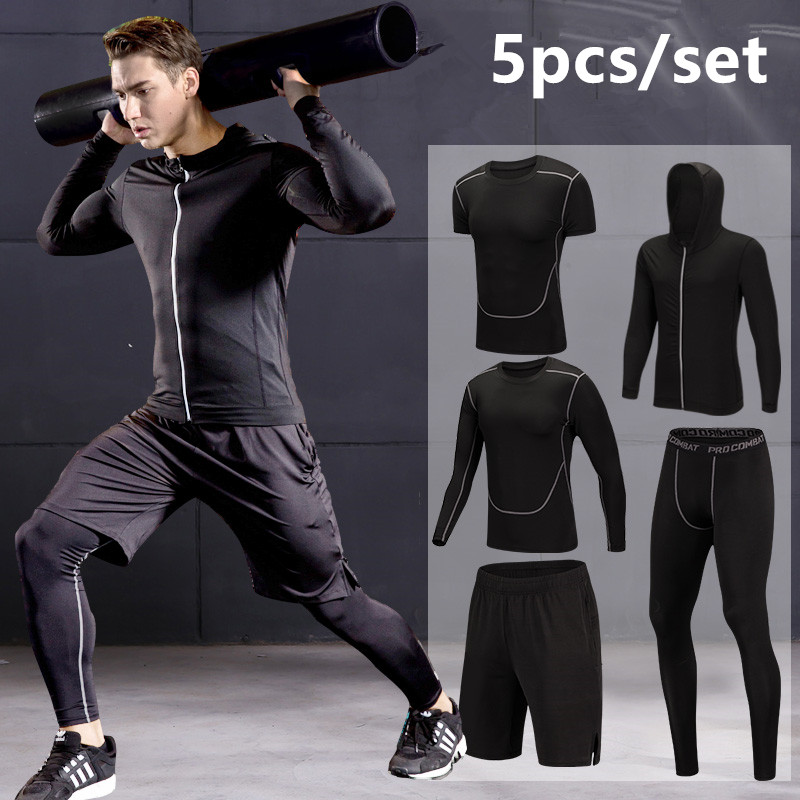 Quick Dry Running Set Men Compression Sports Suit Hooded Basketball Trainning Running Set Breathable Gym Jogging
