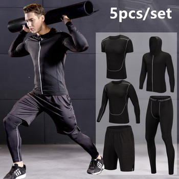 Quick Dry Running Set Men Compression Sports Suit Hooded Basketball Trainning Running Set Breathable Gym Jogging Fitness Clothes