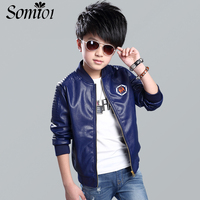 Toddlers And Teenager Boys Bomber PU Leather Jacket 2017 New Fashion Kids Jacket For Boys Spring