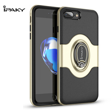 IPAKY Case For iPhone 7 / 8 Ring Holder Shell Vehicle Magnet function TPU+PC Armor Shock absorption Case For iPhone 7/8 Plus все цены