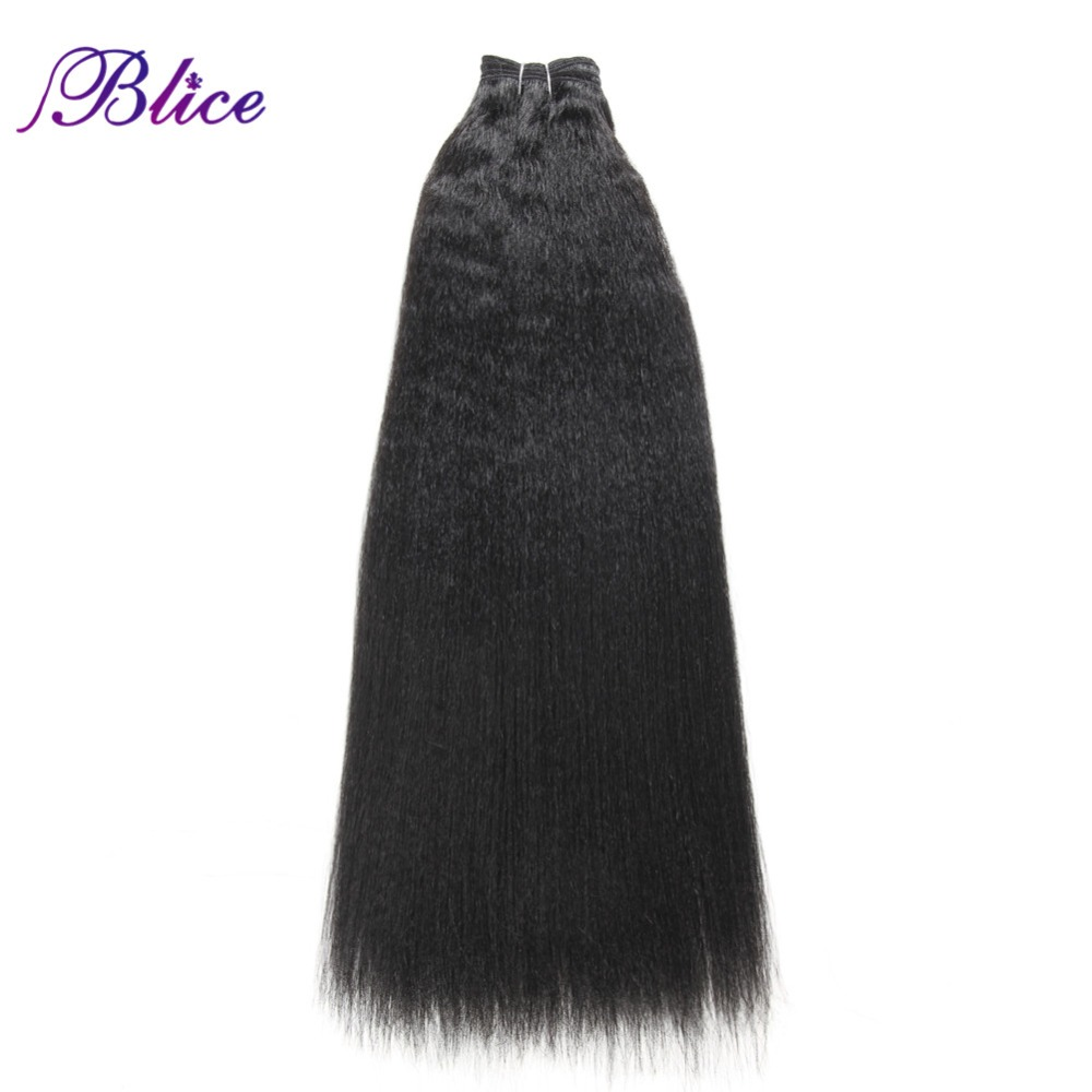Blice Hair-Weaving Synthetic-Wave Kinky Straight Women 12-24inch Black for One-Piece