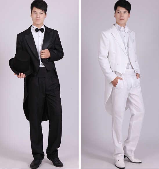 Traje de esmoquin negro para hombre, traje de boda de espectáculo ropa mágica de Jazz y Navidad, trajes de esmoquin blanco y negro para hombre