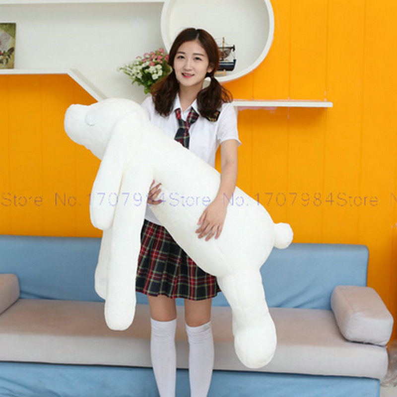 White soft goat Rabbit Cloth Doll Girl Sleep Bed Pillow 90cm Large Size Long Arm Rabbit plush Toys Cushion birthday gfit ...