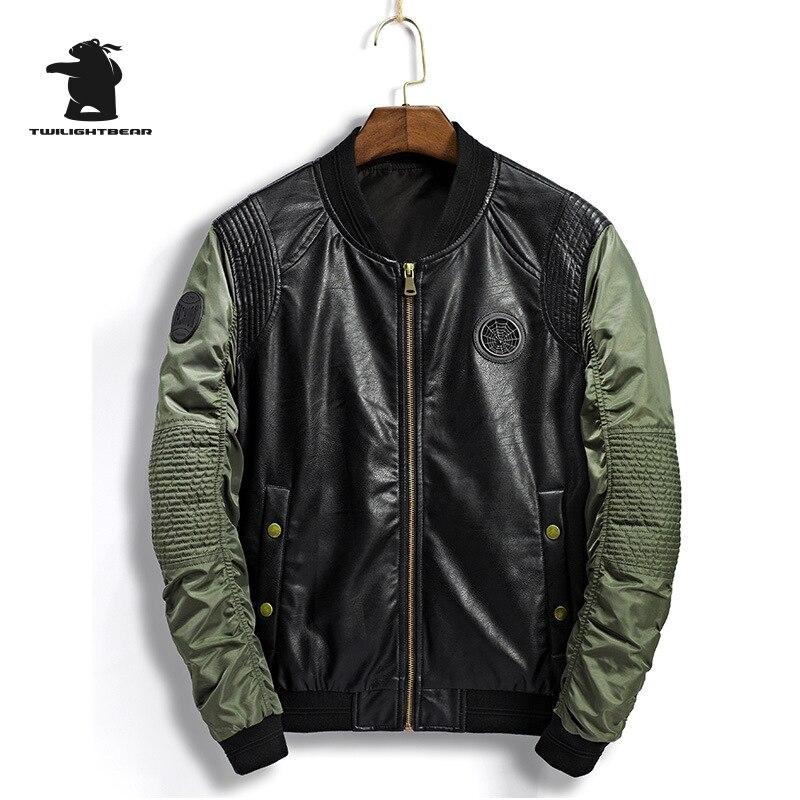 Фирменная Новинка Для мужчин куртка весна модные кожаные шить плюс Размеры Повседневное Бейсбол куртка Для мужчин верхней одежды M ~ 3XL BFWSL109