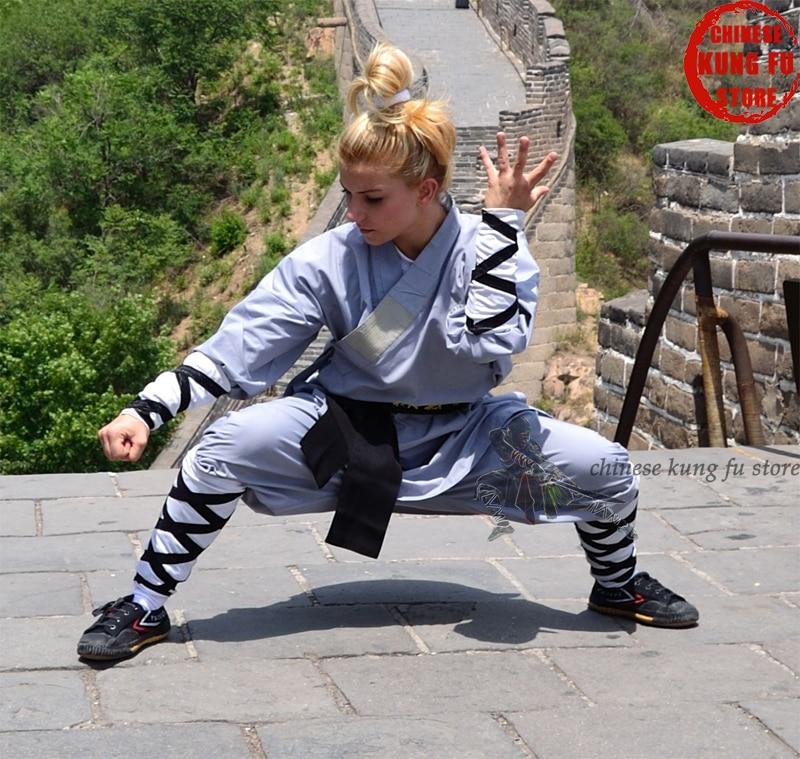 Gray Cotton Shaolin Monk Kung Fu Uniform Wushu Martial Arts Suit Full Sizes For Kids Adults