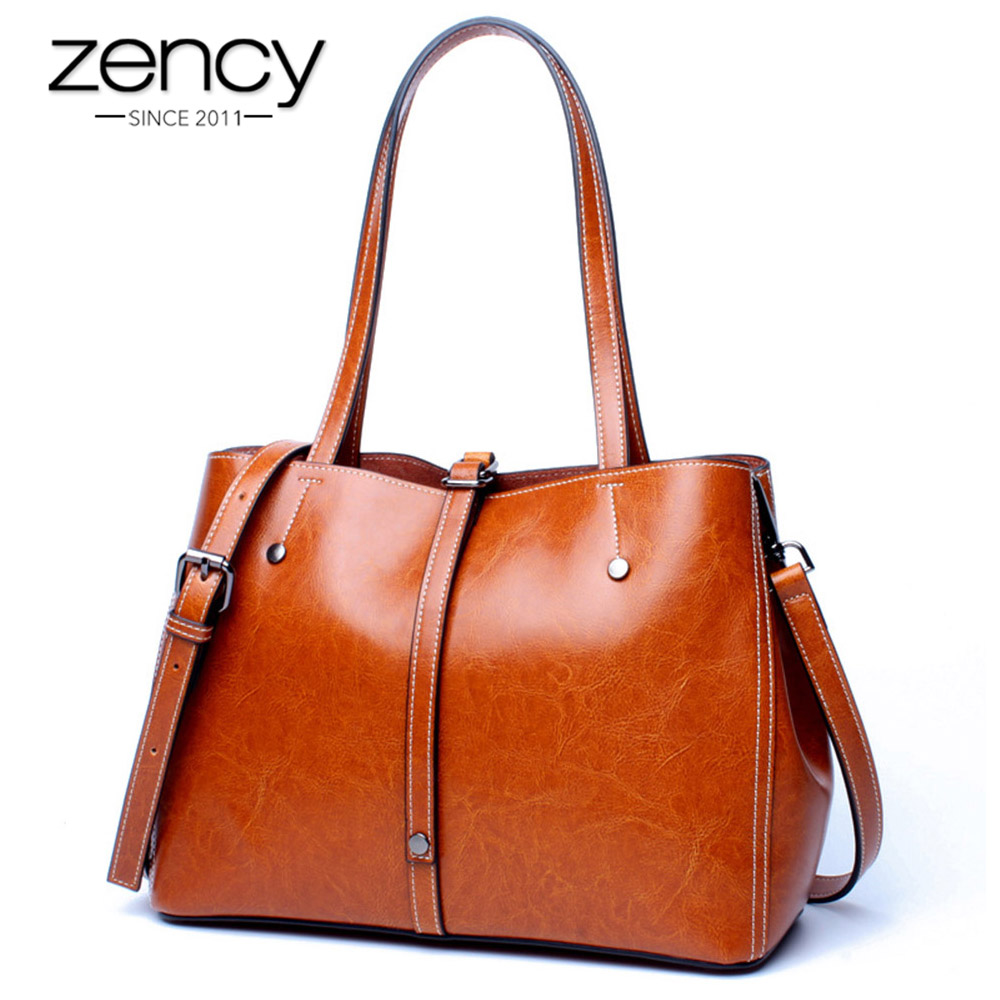 Zency Fashion Women Shoulder Bags 100% Genuine Leather Soft Skin Practical Shopping Handbags High Quality Ladies Casual Tote