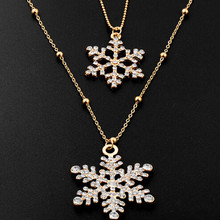 ZOSHI Fashion Gold color Chain Rhinestone Snowflake Pendant Long Chains Necklace Sweater Chain Double Layers Necklaces For Women