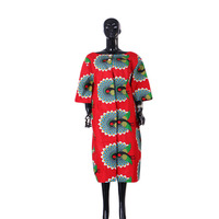 in stock africa style women african clothing Women Riche Bazin Straight 100% Cotton Material neck Lady knee length Dress ST64