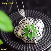 KJJEAXCMY boutique jewels 925 silver Natural green jade pendant necklace send female jewelry ghjk