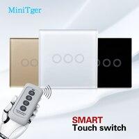 MiniTiger Smart Switch Crystal Glass EU Standard Wall Touch Switch 240V Switch 50 60Hz 3 Gang