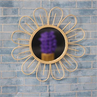 Oriental rattan hand woven circular sun flower mirror Nordic style retro dressing mirror wall hanging straight hanging mirror