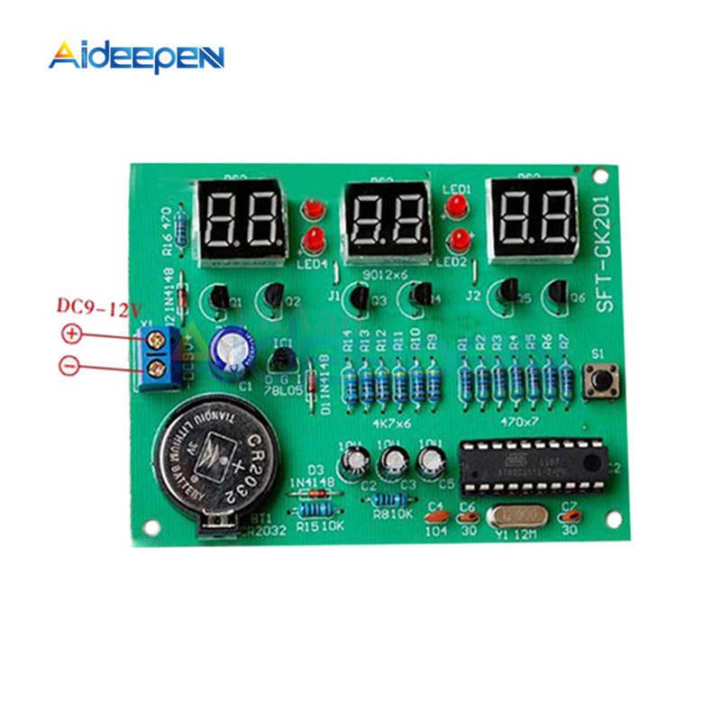 تيار مستمر 6 فولت-12 فولت STC11F02-35I شاشة LED الإلكترونية على مدار الساعة 6 بت أنبوب رقمي لتقوم بها بنفسك مجموعات أجزاء الساعة مكونات جناح لوحة إلكترونية