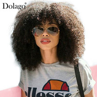 250% Density Afro Kinky Curly Lace Front Human Hair Wigs With Bangs Bob Lace Frontal Wig For Women Short Remy Hair Dolago Black