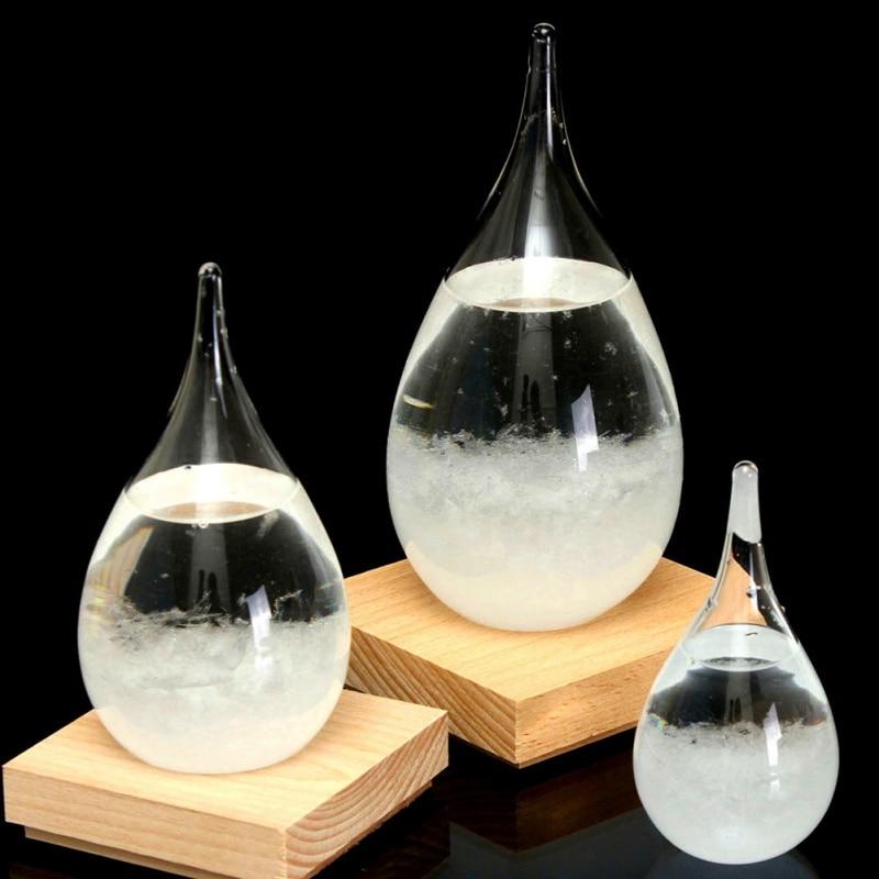 4 größe Transparent Droplet Storm Glas Wasser Tropfen Wetter Storm Prognose Predictor Monitor Flasche Barometer Wohnkultur