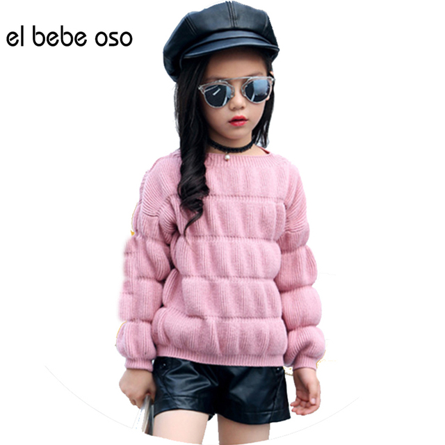 el bebe oso Baby Girl Warm Sweater Clothes Children Toddler Kids Winter Autumn Puff Sleeve Pullover Knit Loose Top XL583