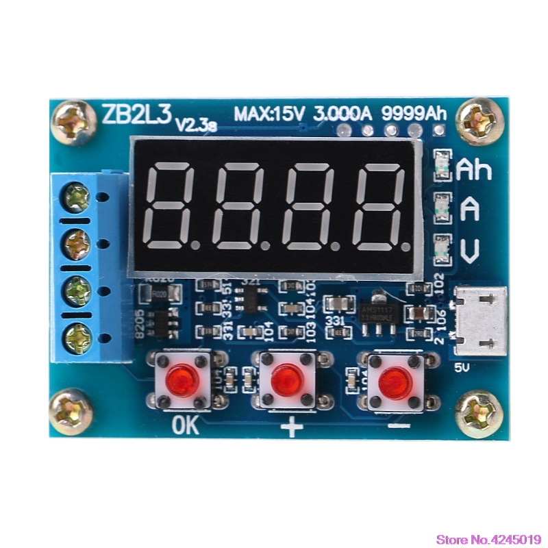 New ZB2L3 Li-ion Lithium Lead-acid Battery Capacity Meter Discharge Tester Analyzer 18650 li ion lithium battery capacity tester 1 2v 12v resistance lead acid battery capacity meter discharge tester