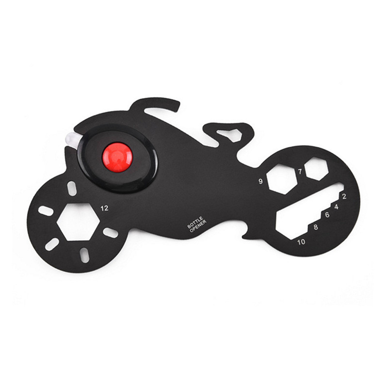 Multi-Function EDC Tool Card Motorcycle-shape Multitool Card Bottle Opener Keychain With LED Light Portable Multi-Purpose Gadget