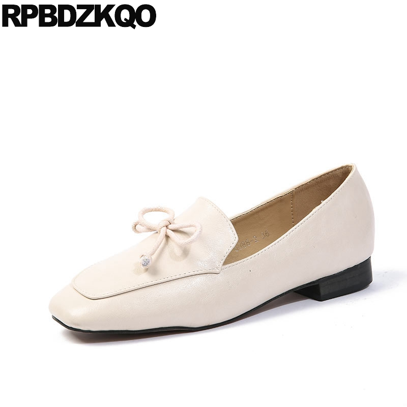 flats slip on 2018 chinese designer bow square toe ladies women shoes with little cute bowtie loafers shallow japanese school