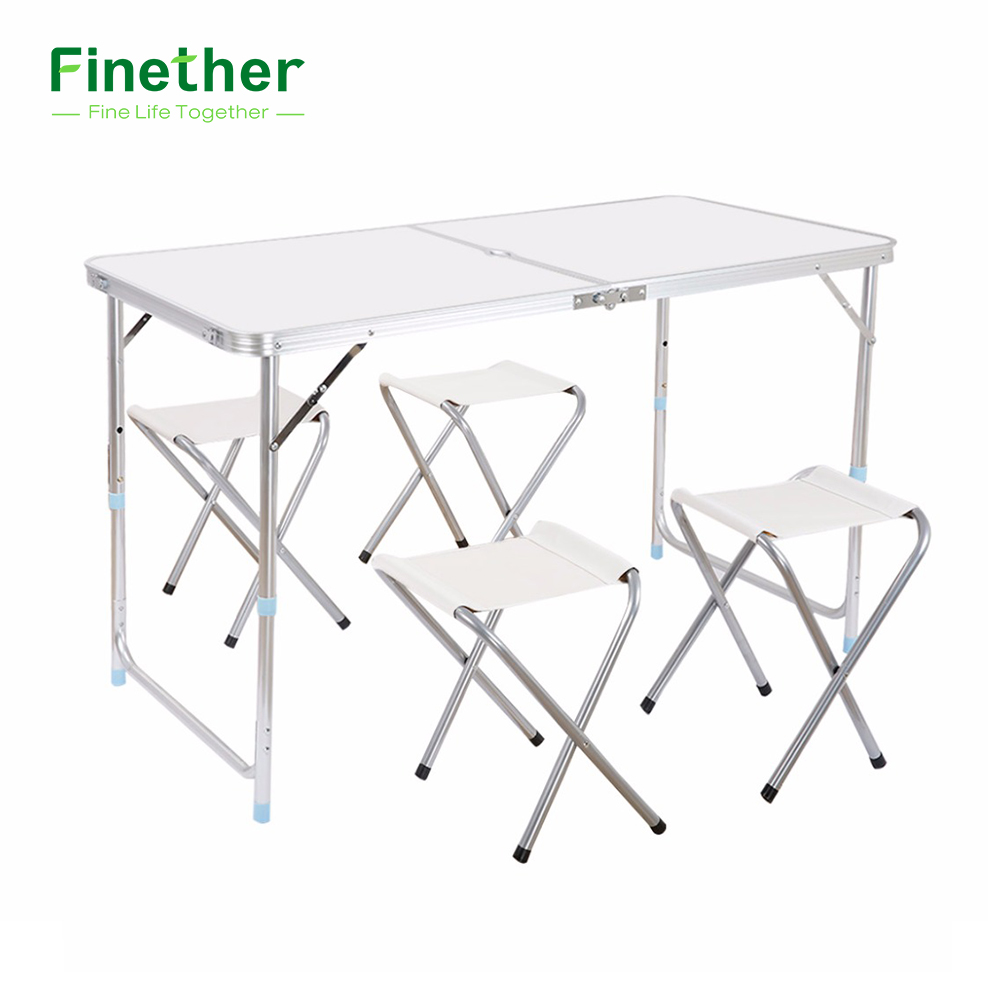 Finether Folding Outdoor Table Stool Set Ultralight Height-Adjustable Aluminum Portable Table For Dining Picnic Camping BBQ