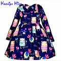 2016 Del Nuevo Diseñador Vestidos De Invierno Para Niños de Dibujos Animados de Manga Larga Blue Girl Dress Little Girls Princesa vestido de Bola 2-10 Años Zk0815